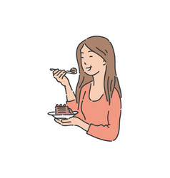 smiling woman is holding plate and eating cake vector image