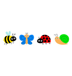 snail cochlea bee bumblebee butterfly lady bug vector image
