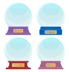 souvenir made glass snow globes with captions vector image