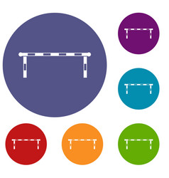 Striped barrier icons set vector