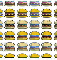 Tasty and fresh hamburger fast food background vector