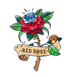 tattoo red rose with blue gem inside passion love vector image