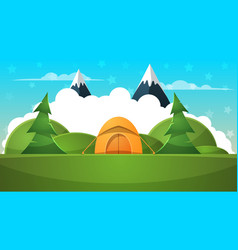 tent travel landscape cartoon vector image