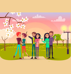 three pair with rose and ice cream in spring park vector image