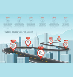 Timeline infographic road concept on similar new vector