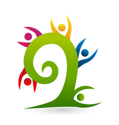 Tree swirl people logo vector