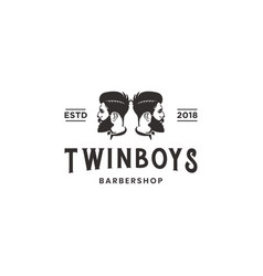 twin boys barber shop vintage logo design vector image