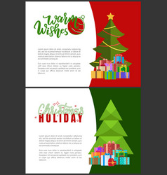 warm wishes and christmas holidays greeting cards vector image