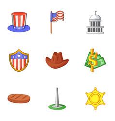 washington city icons set cartoon style vector image