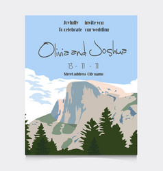 wedding invitation with mountains invitation card vector image
