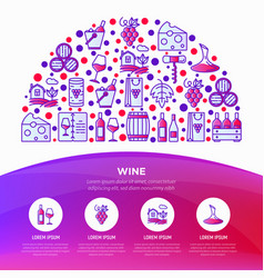 wine concept in half circle vector image