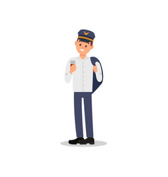 young happy pilot holding jacket over his shoulder vector image