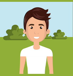 Young man in the field character scene vector