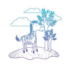 Zebra cartoon in outdoor scene with trees and vector