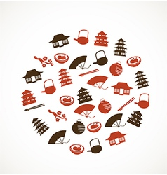 Japanese icons vector image vector image