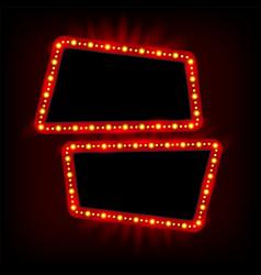 Retro showtime 1950s frame design neon lamps vector