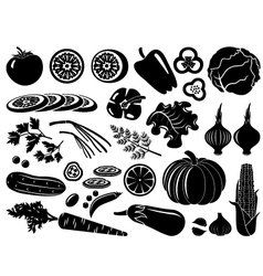 Set of icons of vegetables vector image