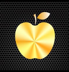 yellow metal apple icon vector image vector image