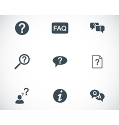 black FAQ icons set vector image