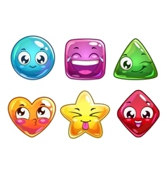 Funny cartoon characters icons vector image vector image