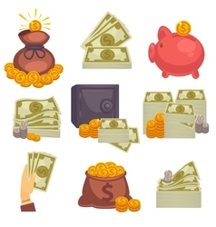 Paper money and money bag icon set vector image vector image