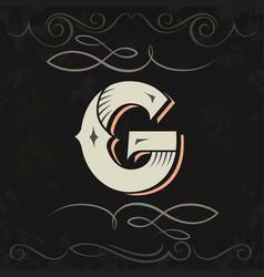 retro style western letter design letter g vector image vector image