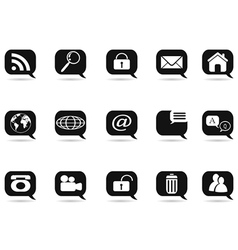speech bubble with internet icons vector image