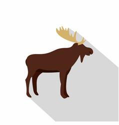 Wild elk icon flat style vector