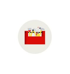 cartoon hand tools box flat style design toolbox vector image