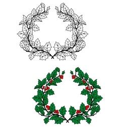 Christmas holly wreath vector image