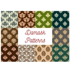 Damask flowery ornate seamless patterns set vector