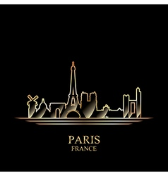 Gold silhouette of Paris on black background vector image vector image