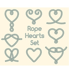 Set of rope hearts decorative knots vector image vector image