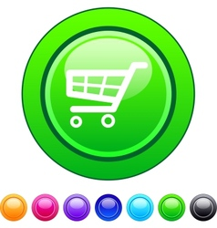 Shopping cart circle button vector image vector image