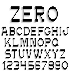Black alphabet letters and numbers with shadow vector image vector image