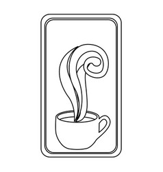 figure long squard symbol of coffee cup vector image vector image