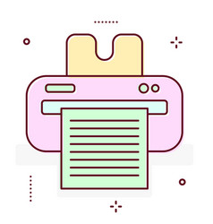 printer line icon vector image vector image