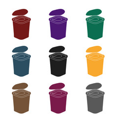 yogurt in the plastic cup icon in black style vector image