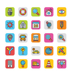 3 pack maps and navigation flat icons vector
