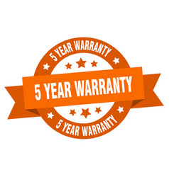 5 year warranty ribbon 5 year warranty round vector image