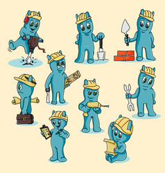 A set of funny blue men in chibi doodle style vector