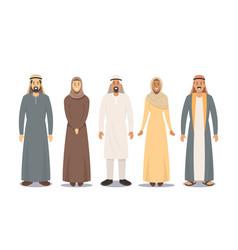 Arab people male and female characters saudi men vector