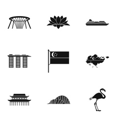 Attractions of Singapore icons set simple style vector image