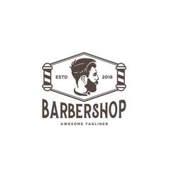 barber shop logo design inspiration vector image