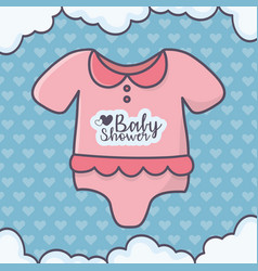 bashower pink bodysuit clouds hearts background vector image