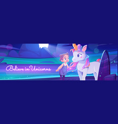 believe in unicorns poster with girl and horse vector image