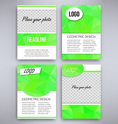 Big set of green triangular design flyer template vector
