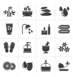 Black Spa and relax objects icons vector