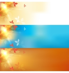 Blurred autumn orange abstract banners set vector