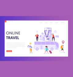 book vacation flight ticket landing page online vector image